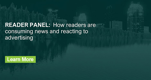 "Image of Twin Cities Skyline with headline, ""READER PANEL: How readers are consuming news and reacting to advertising"""