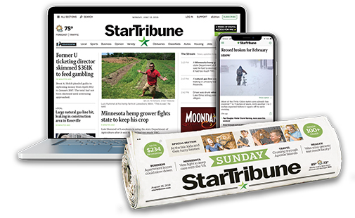 A rolled up edition of the Sunday Star Tribune and a phone and laptop displaying the Star Tribune website.
